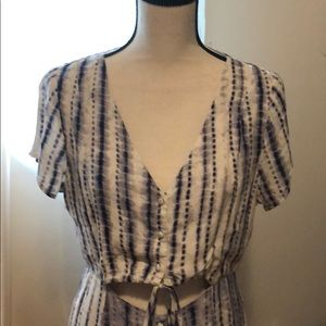 Maxi purple and cream tie dye dress